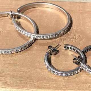 Silver hoop Swarovksi crystal rhinestone earrings