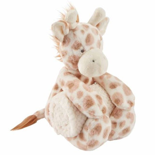 Plush giraffe with rolled detachable fleece blanket for baby