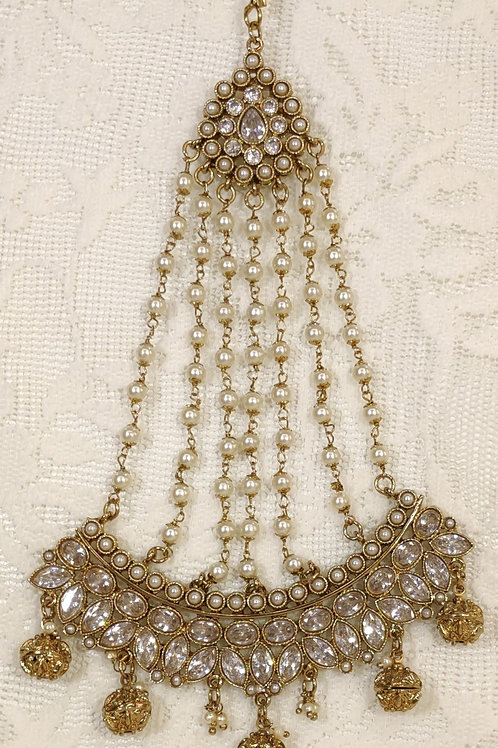 Antic Jhumar with pearl and white AD stones
