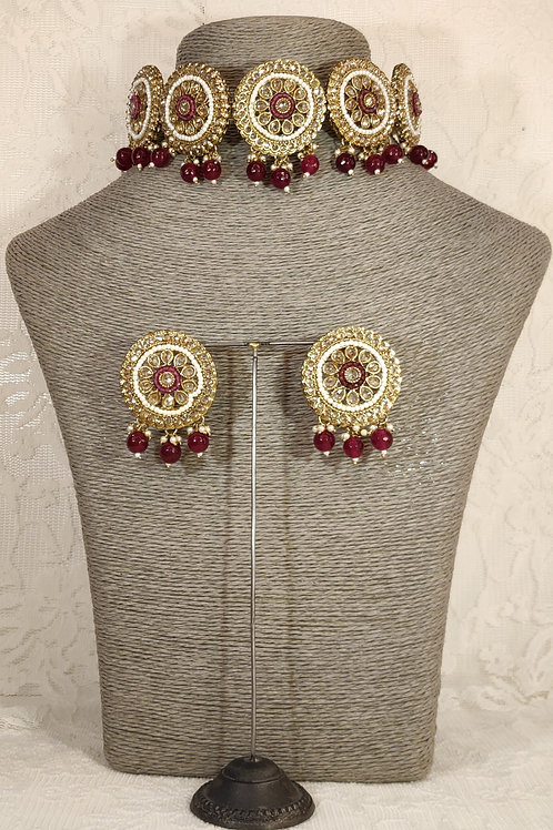 Choker - pearl and maroon accent beading