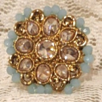 Antic ring small light blue beads and ad stone studded