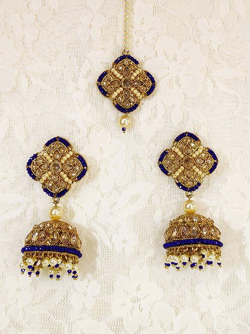 Antic earring tikka set with royal blue beading
