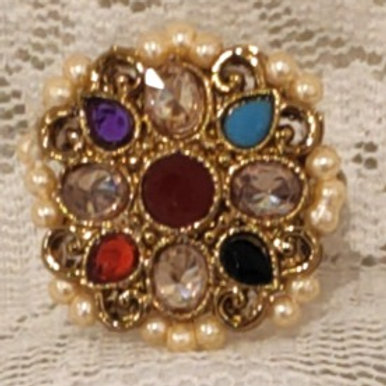 Antic ring small multi stone studded