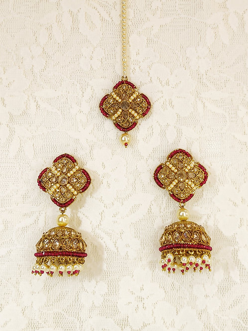 Antic earring tikka set with hot pink pearl beading