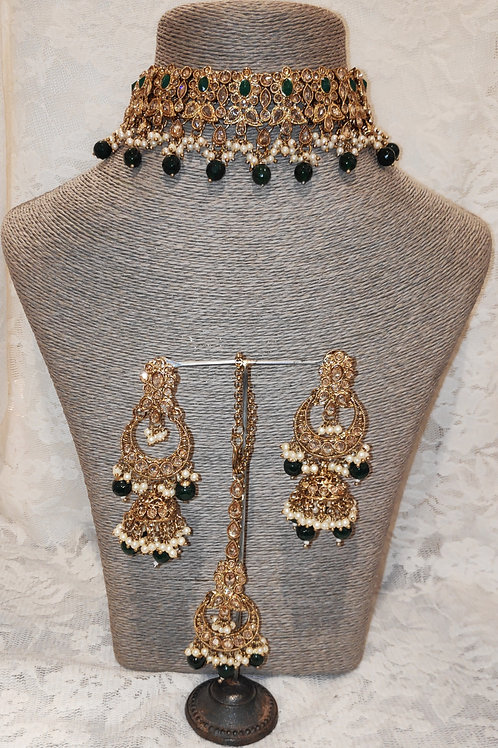 Choker set - bottle green beads and pearls with jhumki earrings