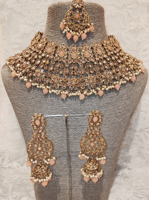 Large Collar - peach beads and pearls with jhumki earrings