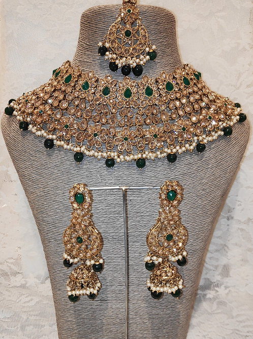 Large Collar - bottle green beads and pearls with jhumki earrings