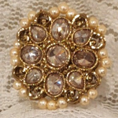 Antic ring small pearl beads and ad stone studded