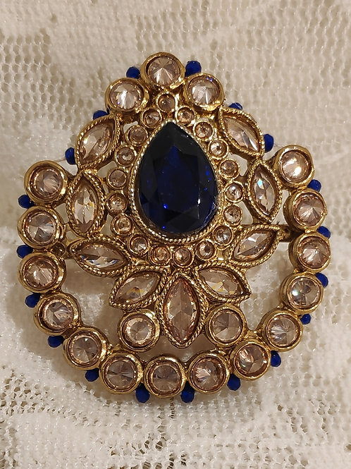 Antic pear shape ring royal blue beads and ad stone studded