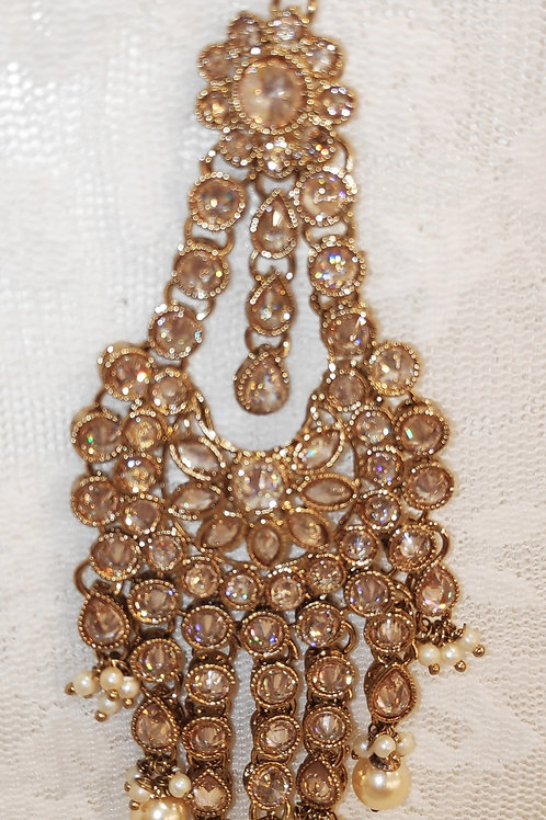 Jhumar/Pasa - Full lct ad stones with pearl beads