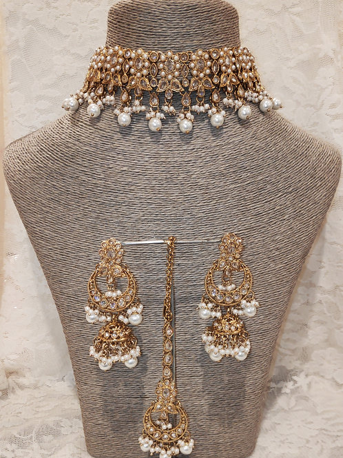 Choker set - white pearl beads with jhumki earrings