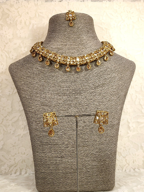 Small Choker Necklace Set with LCT AD stones