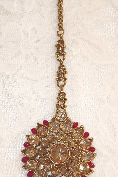 Antic round tikka - gold stones with fuschia beads