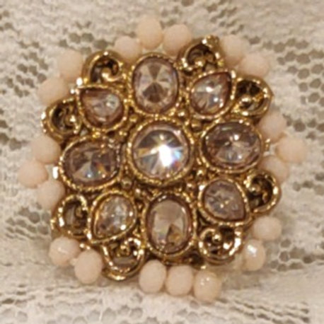 Antic ring small pink beads and ad stone studded