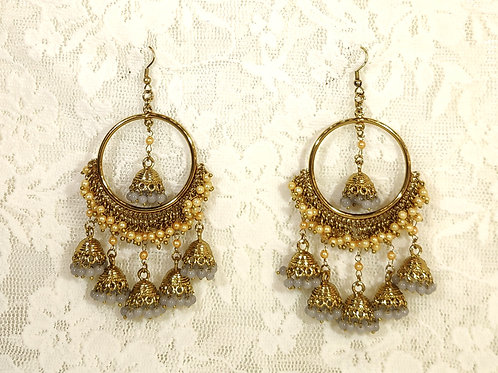 Contemporary Jhumki - faux pearls and grey beads