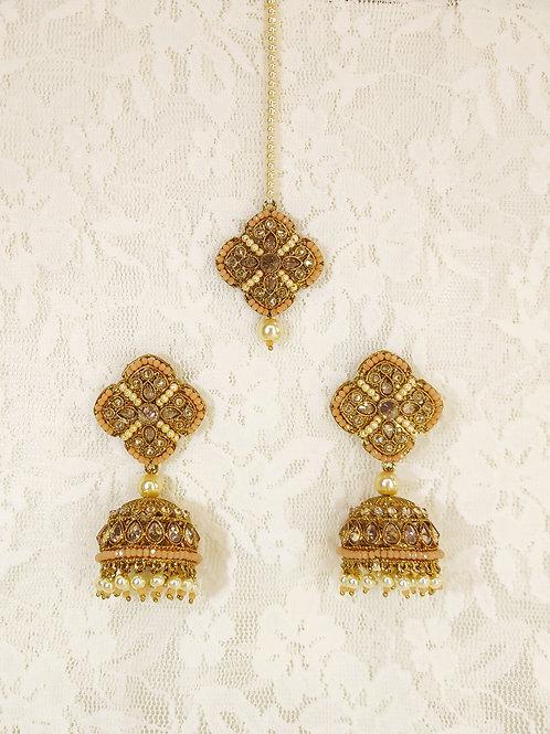 Antic earring tikka set with peach pearl beading