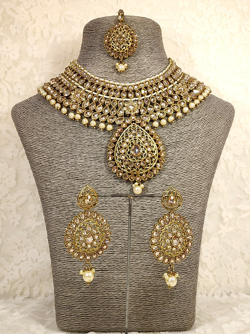 Large Collar - faux pearl beading