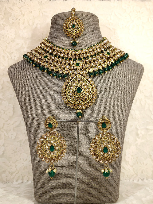 Large Collar - faux pearl and bottle green beading