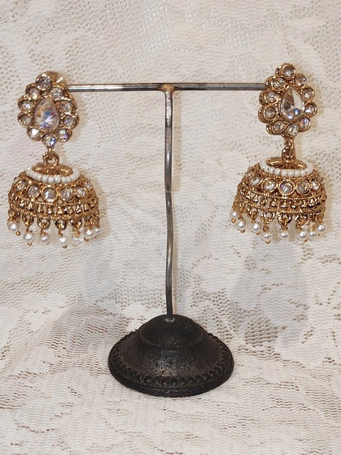 Jhumki earrings with clear stone and white pearl beading