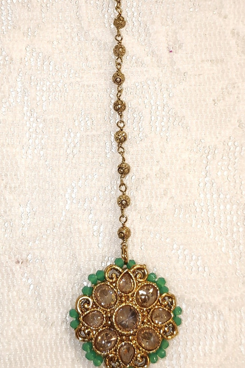 Antic small tikka with pista beads