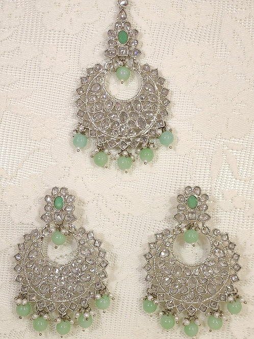 Silver earring and tikka set with sea green and faux pearl beading
