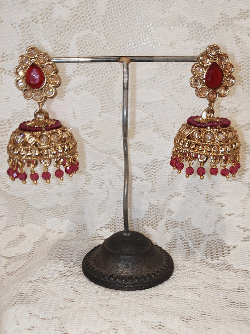 Jhumki earrings with ruby stone and beading