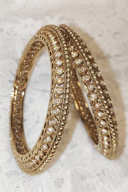 Antic plated bangles with LCT gold stones
