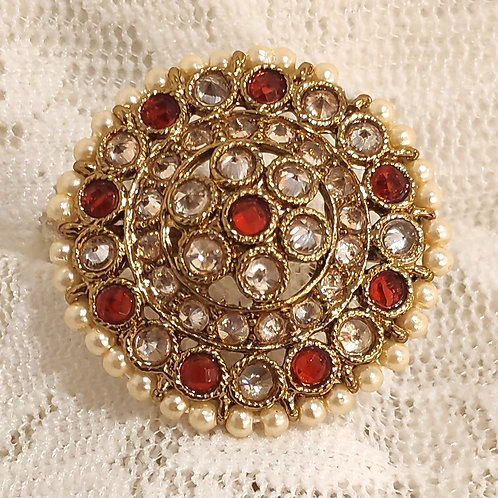 Antic ring round red and ad stone studded