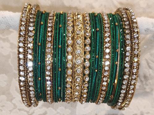 Green + white stone antic bangle set