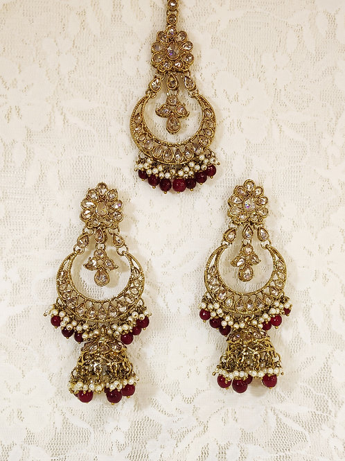 Antic earring tikka set with maroon and faux pearl beading