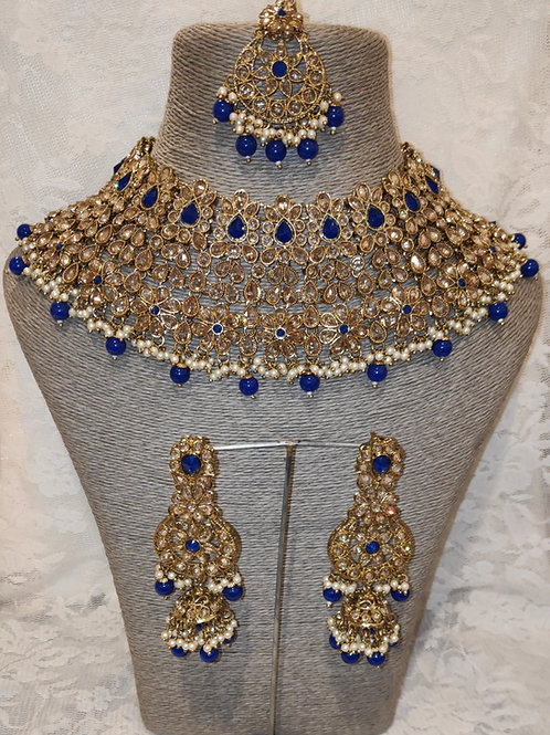 Large Collar - royal blue beads and pearls with jhumki earrings