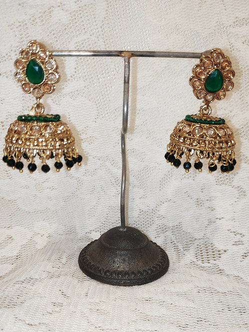 Jhumki earrings with bottle green stone and beading