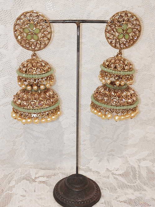 Double Jhumki earrings with mint beads and pearls