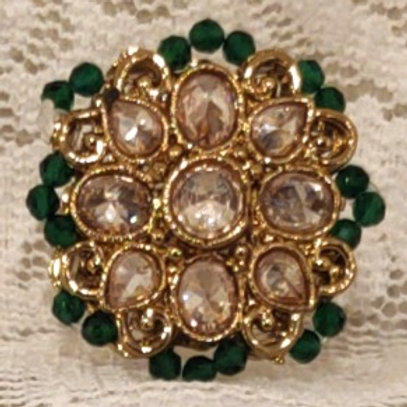 Antic ring small green beads and ad stone studded