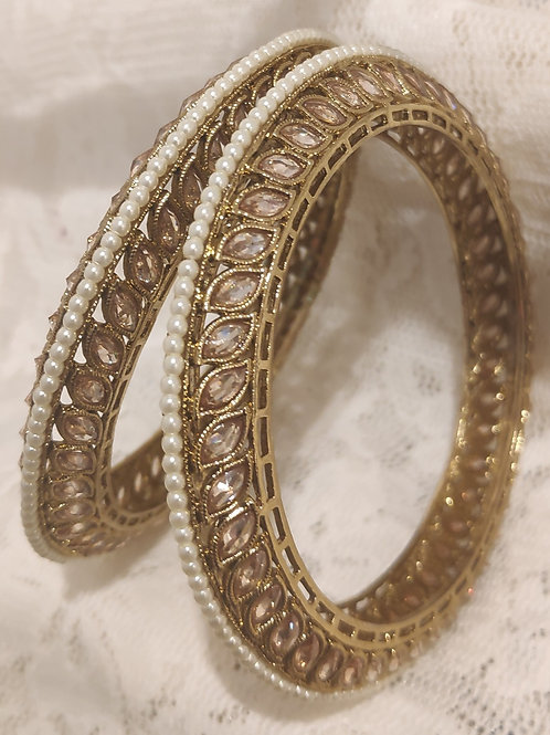 Antic plated bangles with marquis stones and pearls