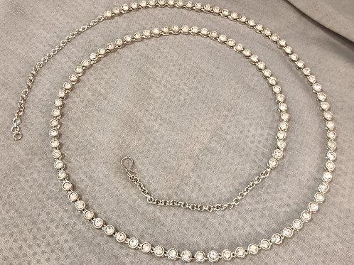Rhodium waistbelt with white round stones