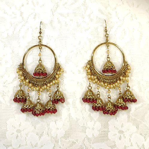 Contemporary Jhumki - faux pearls and berry beads