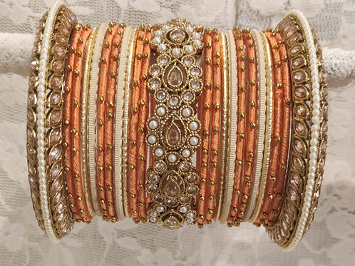 Plated peach and cream antic bangle set