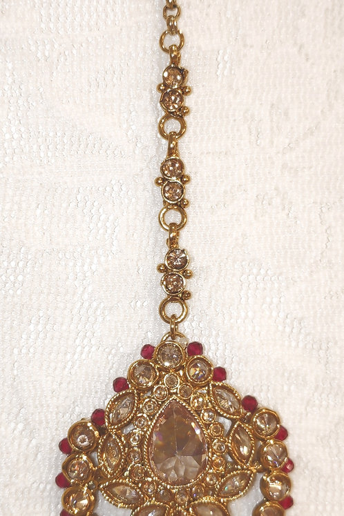 Antic tikka gold Ad stones with fuschia beads