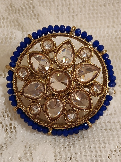 Antic ring round royal blue beads and ad stone studded