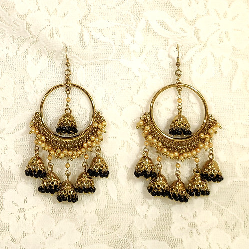 Contemporary Jhumki - faux pearls and black beads