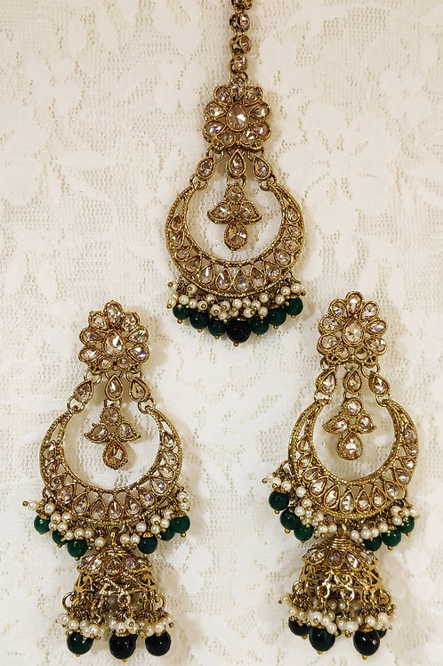 Antic earring and tikka set with bottle green beading