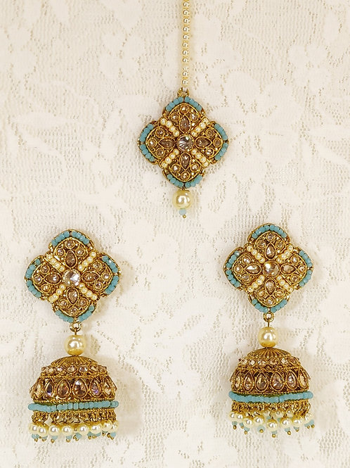 Antic earring tikka set with blue pearl beading