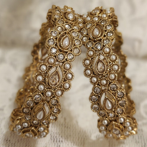 Antic plated bangles with white stones and pearls