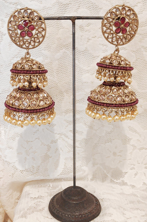 Double Jhumki earrings with ruby beads and pearls