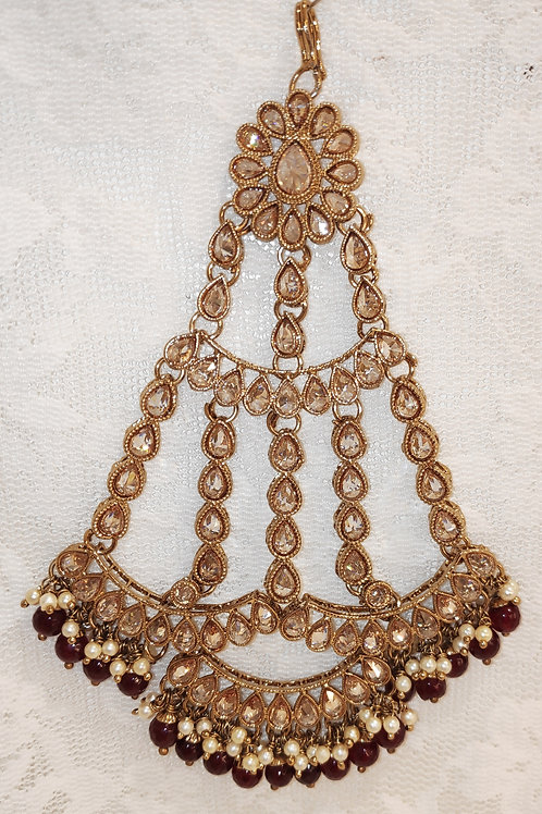Large Jhumar/Pasa - Full lct ad stones with maroon beads