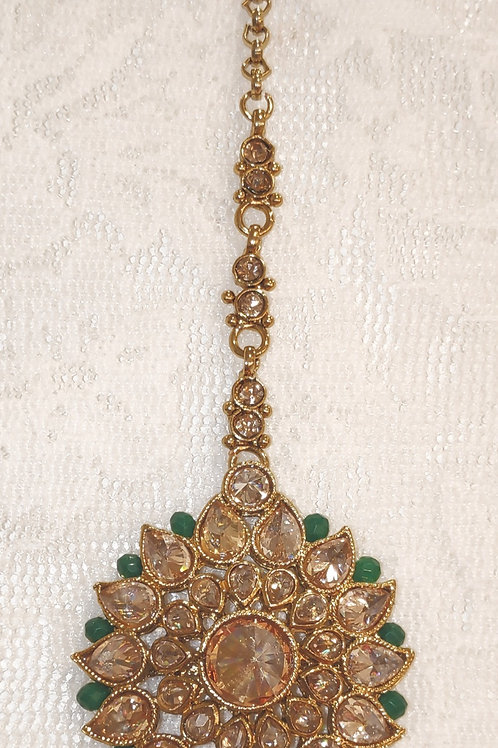 Antic round tikka - gold stones with bottle green beads