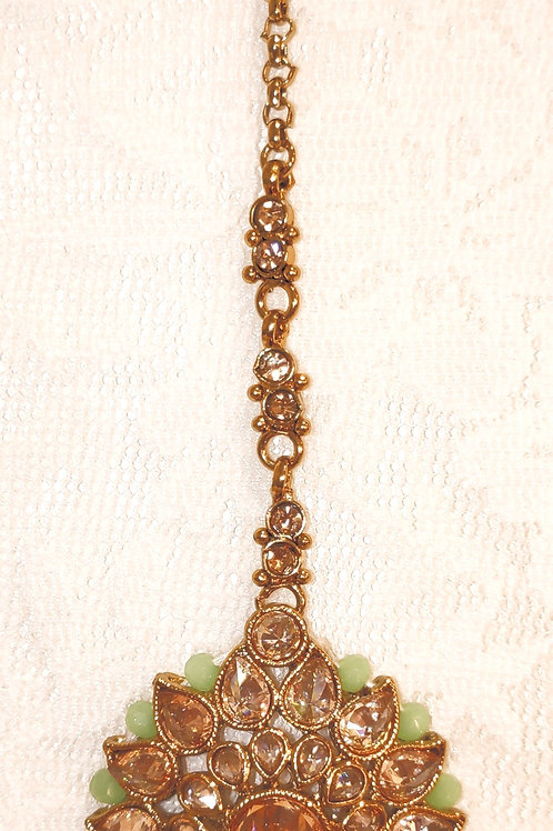Antic round tikka - gold stones with mint beads