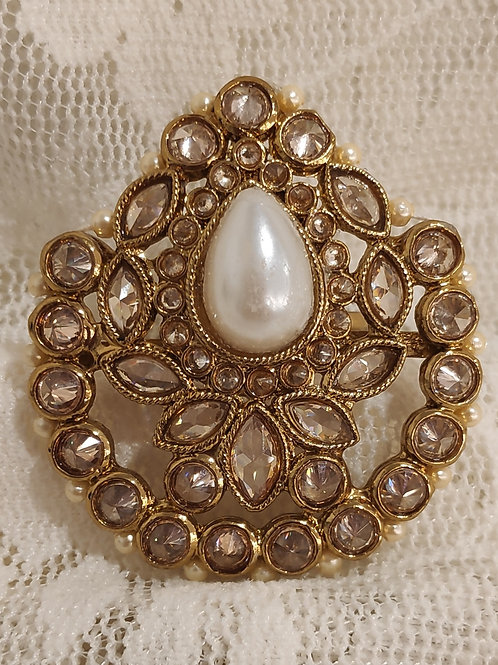 Antic pear shape ring pearl beads and ad stone studded