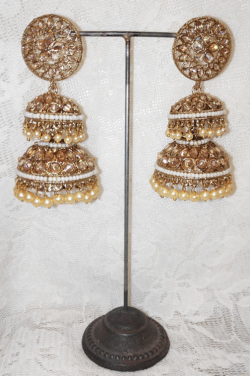 Double Jhumki earrings with white beads and pearls